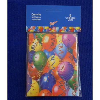 ref.073415- Convite Balões - conjunto de 8